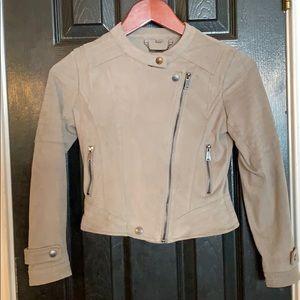 JOUJOU gray microsuede crop jacket medium.
